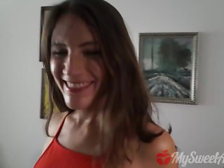 Quickie facial and creampie on a red dress gal