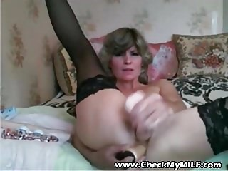 Check My MILF Granny in lack stockings with some big toys