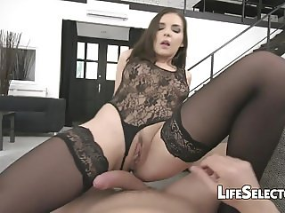 Cute EU brunette sucks and rides to keep her job - Henessy