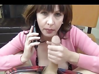 Mom sucks while she's on the phone