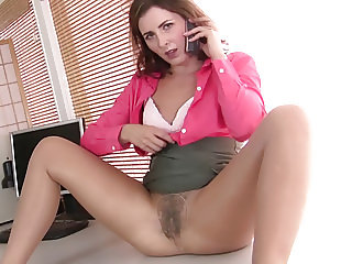 American milf Helena doesn't wear panties at the office