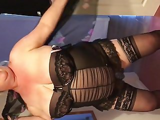 My BBW wife performs strip in a corset