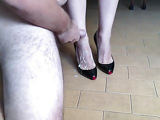 Cum on Louboutin High Heels and Wife Sexy Feet