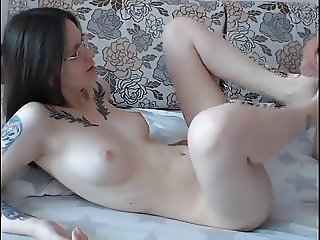 Sexy whore with glasses gets ass penetration on webcam