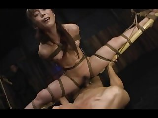 A bound Japanese lady got hung and fucked