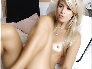 Sexy young blonde girl with small tits and wet pussy