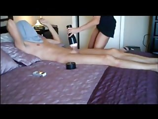 Mature lady riding young boy cock