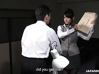 Kinky Japanese secretary makes her boss lick and fuck her