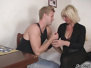 Hunky man doggy-fucks hot blonde grandma