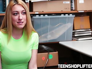 Blonde teen thief Alexa Raye hammered and punished hard