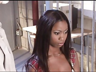 Sexy ebony babe in hot interracial prison