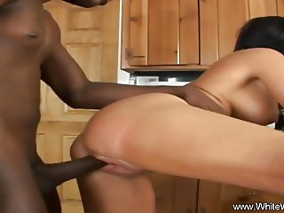 Pounding The Brunette MILF With BBC Interracial Sex