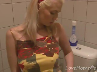 Blonde hottie loves to masturbate in the bathroom