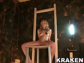 Young blonde girl in a Submission BDSM casting