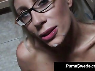 Swedish Sex Pot Puma Swede Takes A Load Of Cum On Her Face!