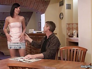 Husband friend licks and fucks his brunette wife