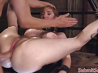 Caged bdsm sub sucks doms cock before riding