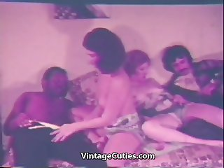 Interracial Group Sex on a Large Bed (1970s Vintage)