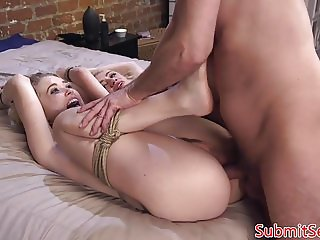 Blonde bdsm trio whipped and fucked by dom