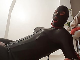 Bondage orgasm with a magic wand and breathplay
