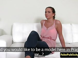 Casting amateur rubs wet pussy at interview