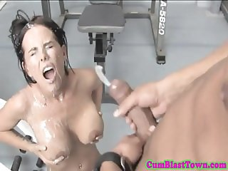 Fitness babe bukkake drenched at the gym