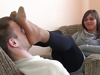Sexy Teen gives a Nice Footmassage on Face with Nylons
