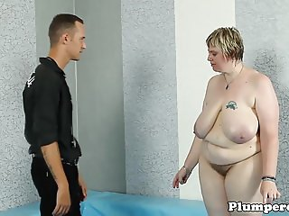 Tattooed SSBBW riding cock after wrestling