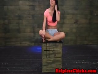BDSM dom pounding restrained teens cunt