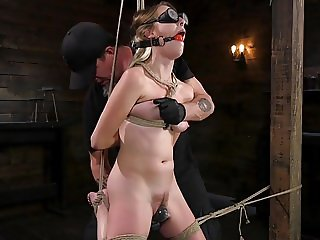 Blonde Sex Slave Cadence Lux Abused in Rope Bondage and Squi