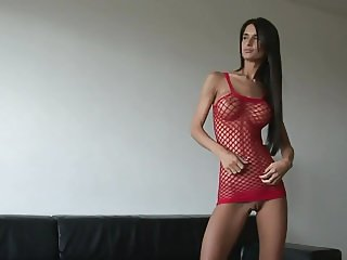 Skinny Czech with Big Tits Trys it on for You