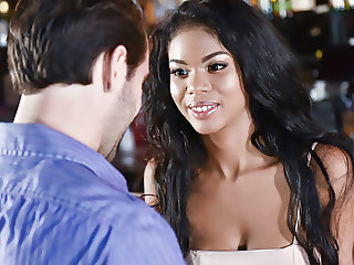 Natural busty black babe fucks in the bar