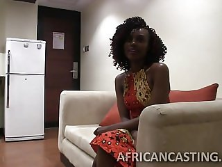 Adorable ebony beauty sucking like a pro