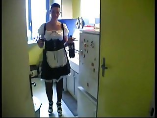 Lea gets fucked by 2 dudes in maid s uniform