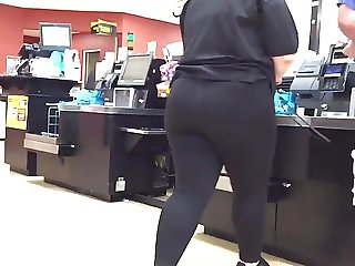 Juicy Ass Blonde in Black Spandex