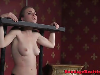Restrained sub ass fingered on all four