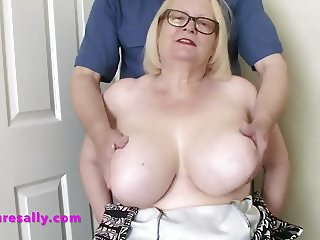 Sallys tits played with watch and wank