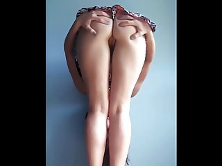 Bent Over Teen Showing Her Pussy and Butthole