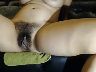 Eliza hairy pussy loaded with sperm after ride Jan's cock
