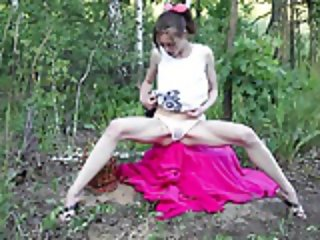 Teen Annette fun in the forest