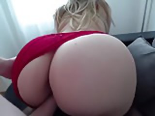 Sex in stockings and through red panties