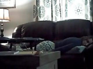 My wife Krysta on hidden cam masturbating in the living room