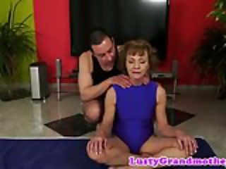 Alluring grandma banged by her yoga teacher