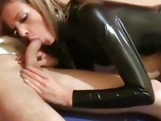 Slut In Black Latex Dress Gets Fucked With Facial
