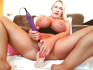 Big fake tits Milf reaches orgasm with sex toys