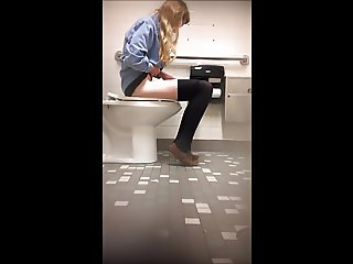 Cute college teen bathroom spy cam (1 of 7)