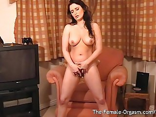 Curvy Femorg Coed Squats and Masturbates to Creamy Orgasm