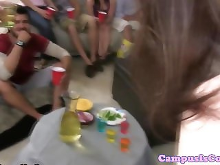 Wild college amateur pussy fucking party