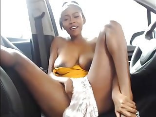 Ebony Babe Playing With Pussy In Her Car