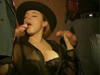 French Big Saggy Tits Beauty DP Black Stockings